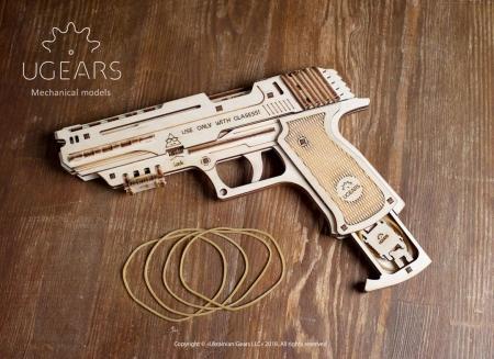 Puzzle 3D Pistol Wolf din lemn Ugears3