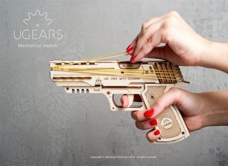 Puzzle 3D Pistol Wolf din lemn Ugears2