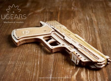 Puzzle 3D Pistol Wolf din lemn Ugears5