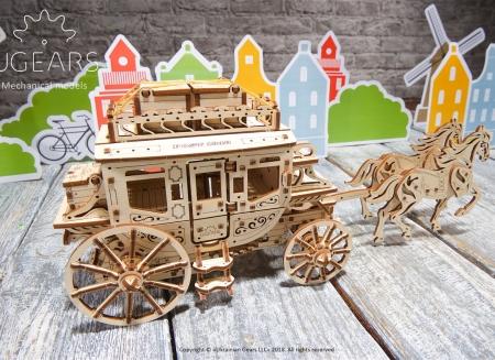 Puzzle 3D Trasura cu cai din lemn Ugears5