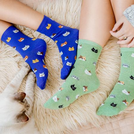 Set 5 perechi sosete colorate Pisici, pentru Femei