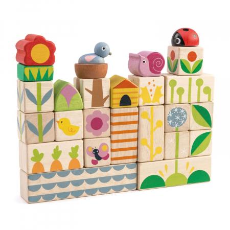 Set cadou jucarii din lemn Cuburi cu ilustratii Gradina fericita, 24 piese1