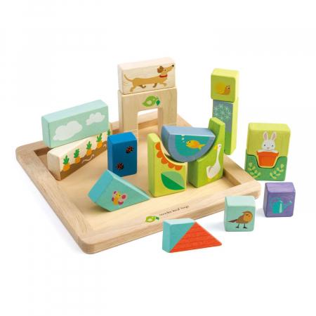 Set cadou jucarii din lemn Ilustratii din Gradina, puzzle cu 17 piese2