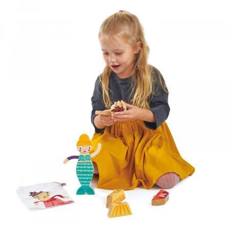 Set cadou jucarii din lemn Printesa si Sirena, puzzle cu 16 piese1