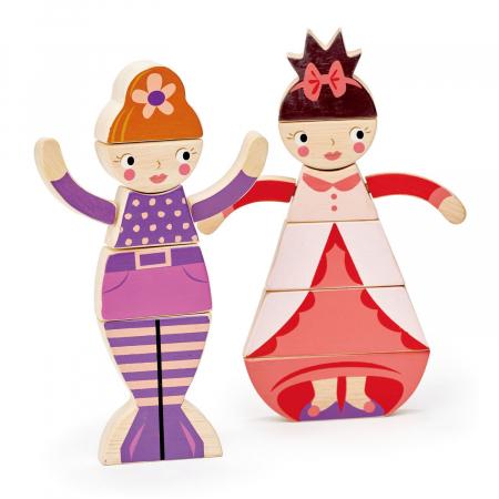 Set cadou jucarii din lemn Printesa si Sirena, puzzle cu 16 piese3