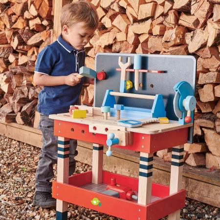 Set jucarii din lemn Atelier Micul tamplar, 19 piese0