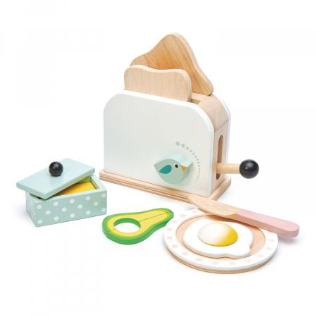 Set jucarii din lemn Prajitor de paine cu accesorii, 10 piese2