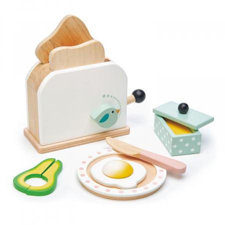 Set jucarii din lemn Prajitor de paine cu accesorii, 10 piese0