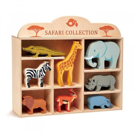Set jucarii din lemn Raftul cu animale din savana, 8 piese2