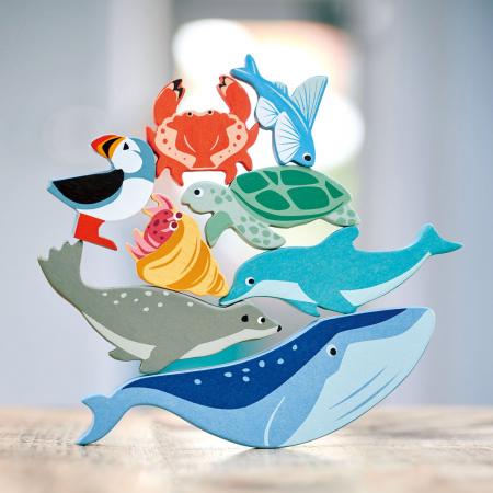 Set jucarii din lemn Raftul cu animale marine, 10 piese0