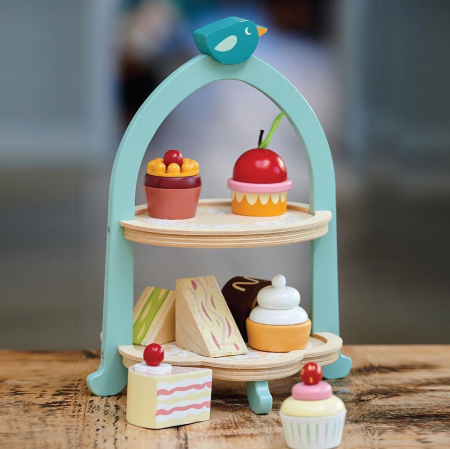 Set jucarii din lemn Stand cu prajiturele, Mini Chef, 9 piese0