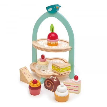 Set jucarii din lemn Stand cu prajiturele, Mini Chef, 9 piese3