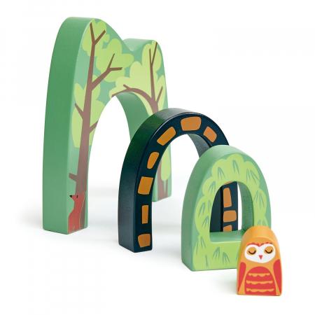 Set jucarii din lemn Tunel prin padure, 4 piese4