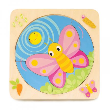 Set jucarii educative Fluturele, puzzle lemn 4 in 11