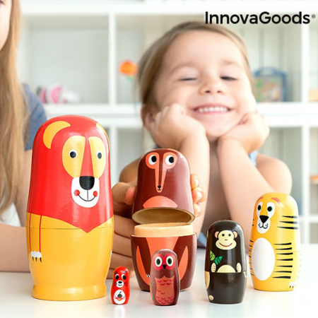Set Papusi Matryoshka figurine animale, 11 piese0
