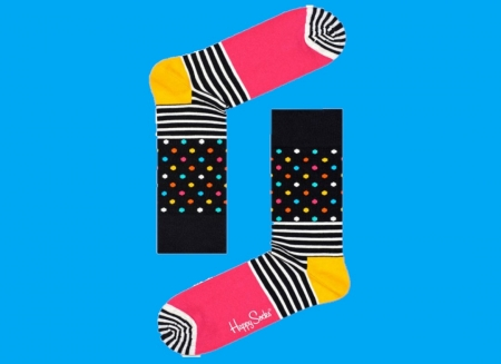 Sosete Happy Socks cu dungi si buline1
