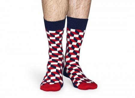 Sosete Happy Socks modele geometrice rosii1