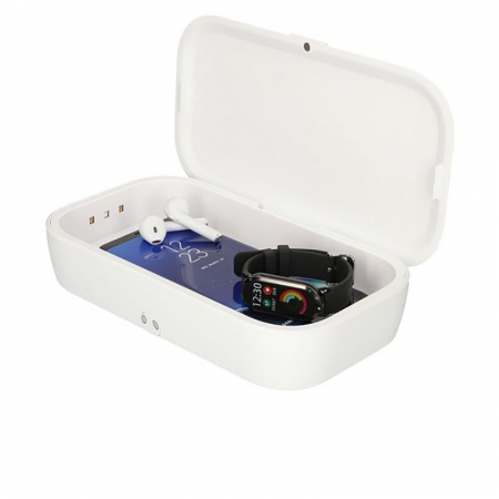 Sterilizator UV caseta alba cu incarcator wireless1