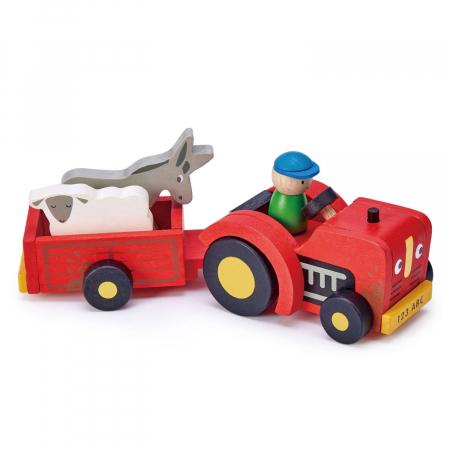 Tractor cu remorca jucarie din lemn educativa, 5 piese2