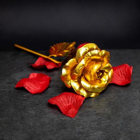 Trandafir placat cu aur 24K - model artificial [0]