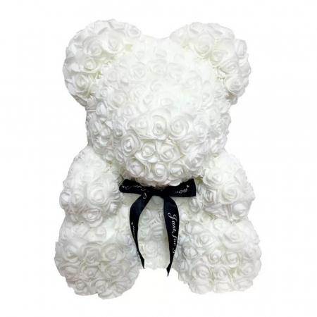 Ursulet din spuma alb, 25 cm, cutie cadou1