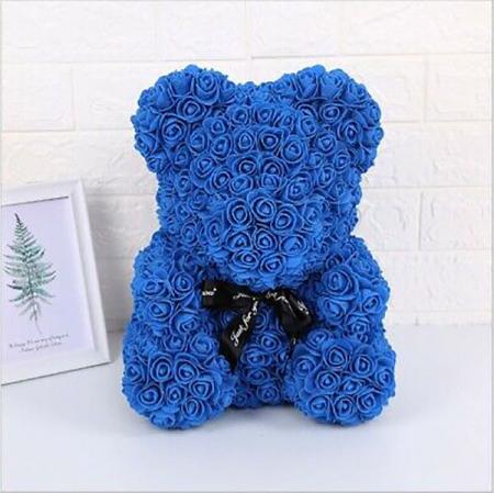 Ursulet din spuma albastru, 25 cm, cutie cadou0