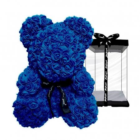 Ursulet din spuma albastru, 25 cm, cutie cadou1