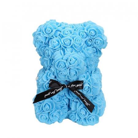 Ursulet din spuma bleu, 25 cm, cutie cadou1