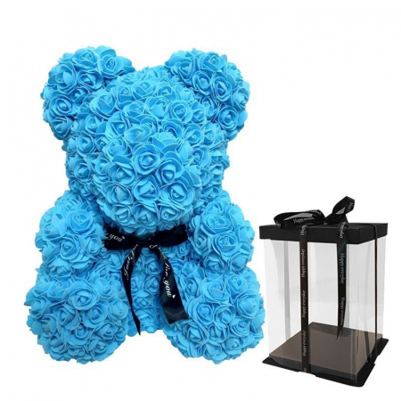 Ursulet din spuma bleu, 25 cm, cutie cadou2