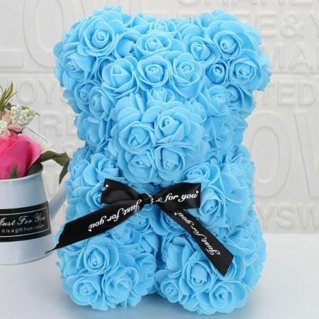 Ursulet din spuma bleu, 25 cm, cutie cadou0
