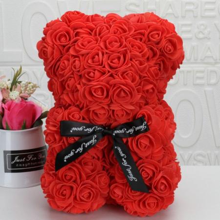 Ursulet din spuma rosu, 25 cm, cutie cadou0