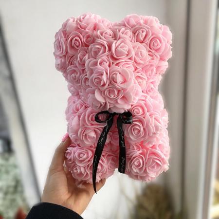 Ursulet din spuma roz, 25 cm, cutie cadou0
