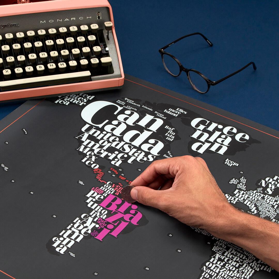 Harta razuibila Typogeography - Originala Luckies