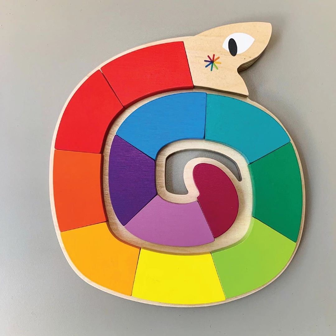 Jucarie din lemn premium Sarpele colorat, puzzle cu 13 piese