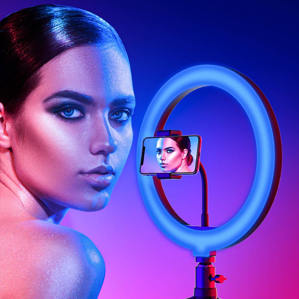 Lampa LED Make up Profesionala BlitzWof BW-SL5 RGB, 120 Leduri, 10 culori, trepied - Pret avantajos   MindBlower.ro