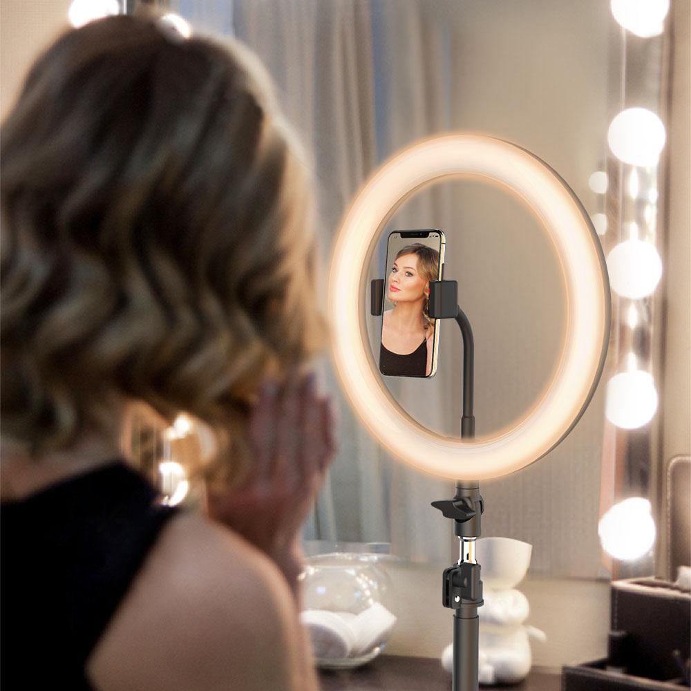 Lampa led makeup profesionala, Ring Light cu 120 leduri lumina rece si calda