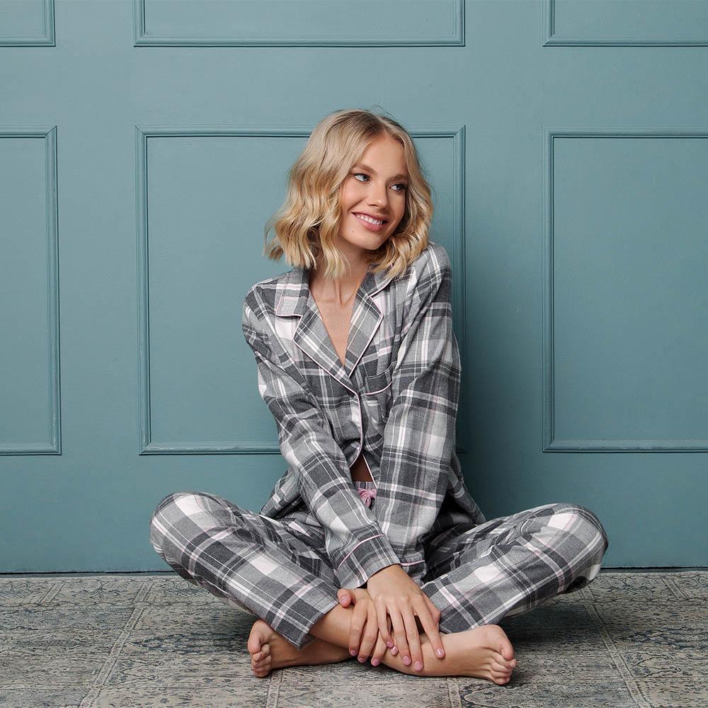 Pijamale dama Marly 2 piese, pantaloni lungi, 100% bumbac