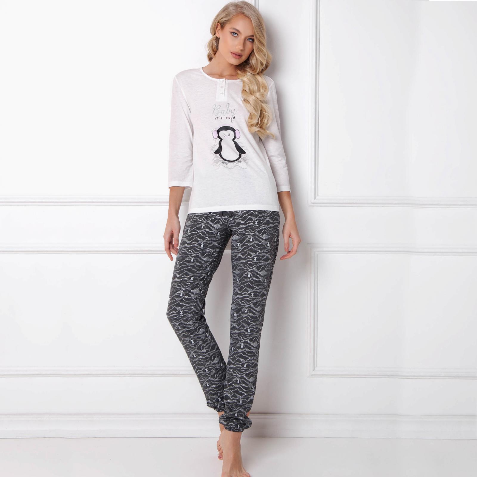 Pijamale dama Peggy Arctic 2 piese, pantaloni lungi