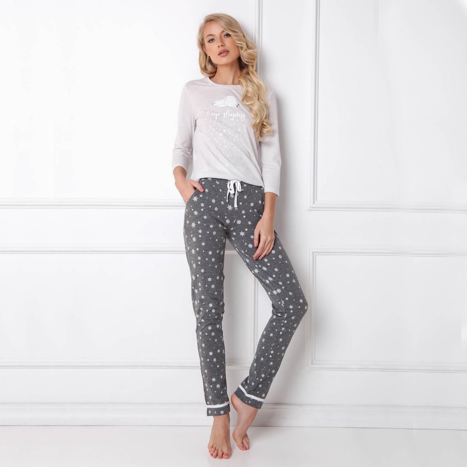Pijamale dama Polar Bear 2 piese, pantaloni lungi