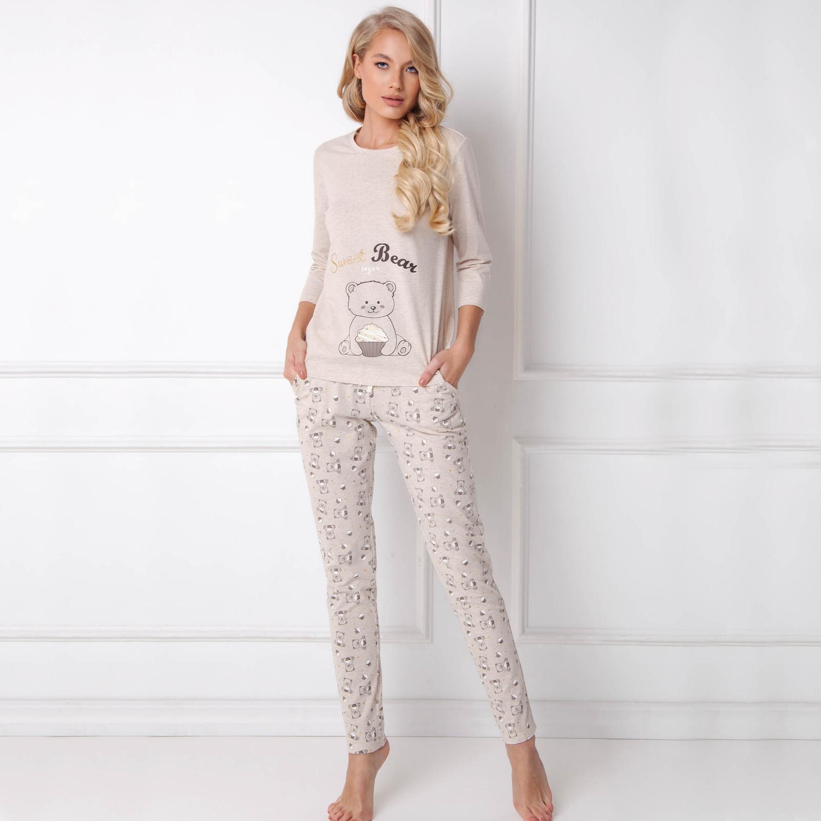 Pijamale dama Sweet Bear 2 piese, pantaloni lungi