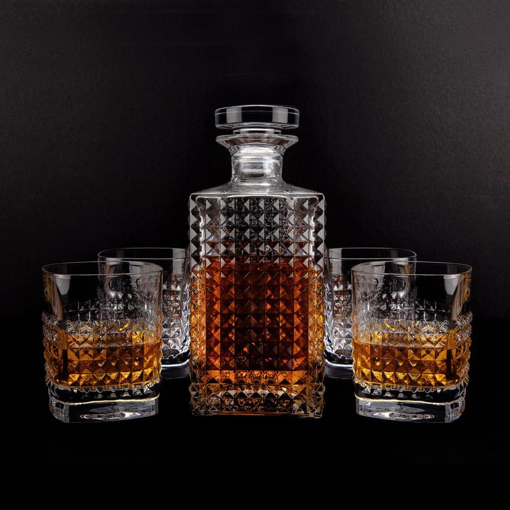 Set cadou decantor Whiskey Sticla cu 4 pahare Elixir