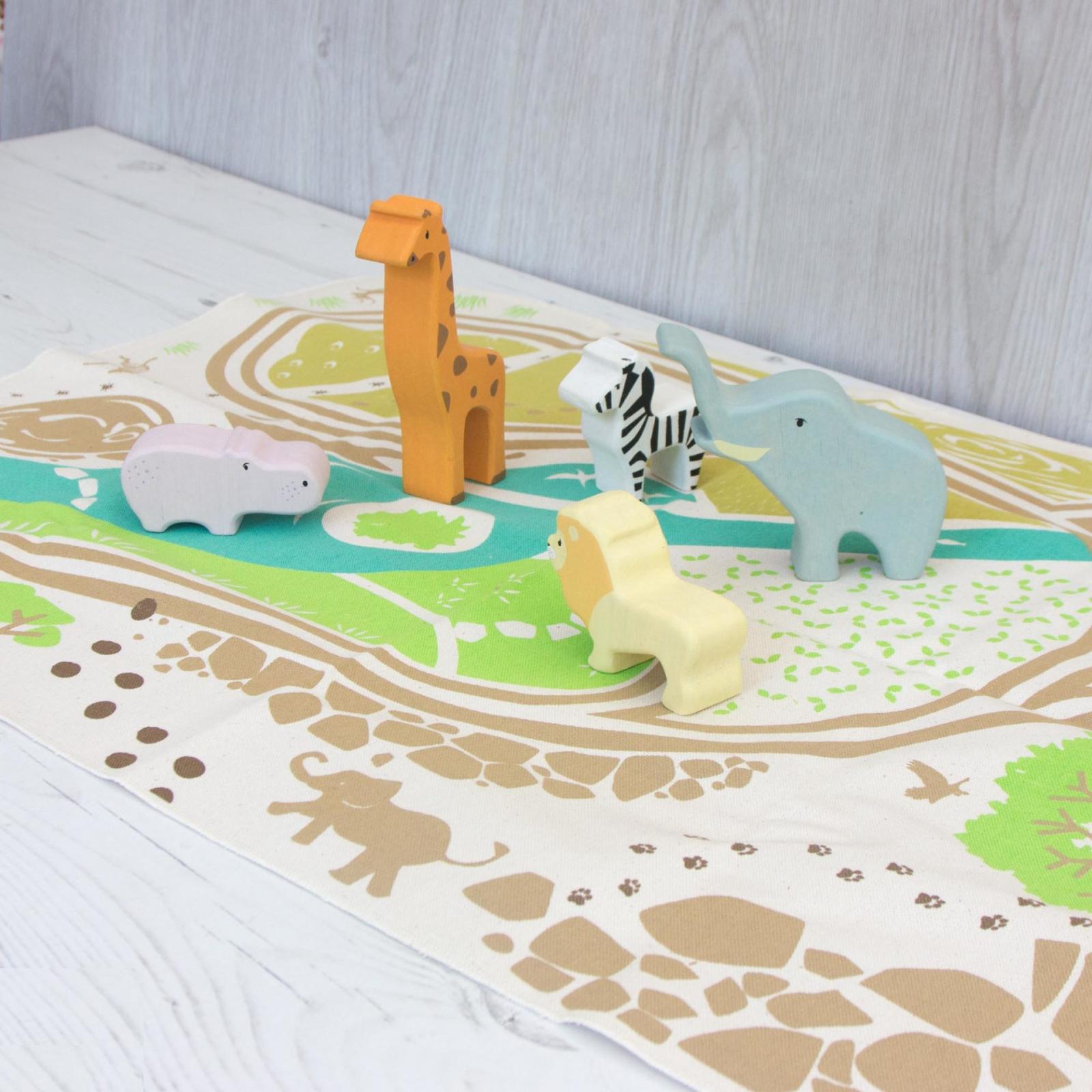 Set jucarii din lemn Animale Safari, 6 piese