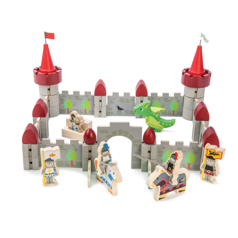 Set jucarii din lemn Castelul Dragonului, 59 piese