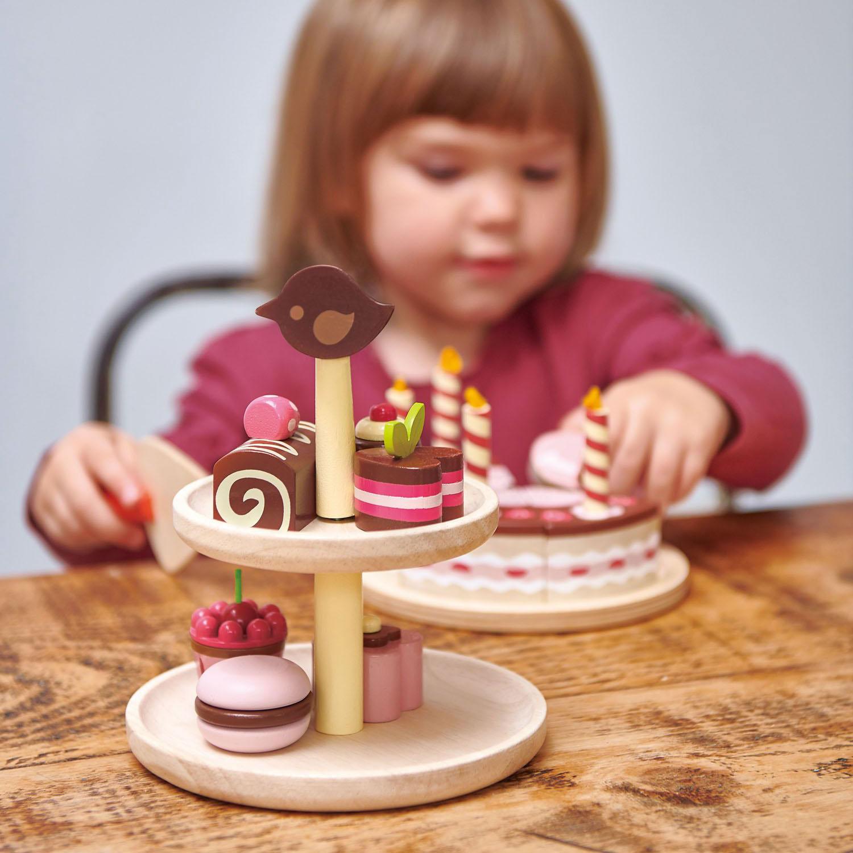 Set jucarii din lemn Prajituri cu ciocolata, 9 piese