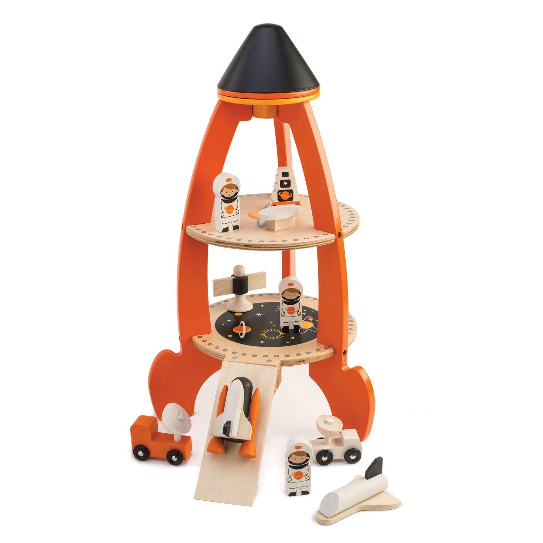 Set jucarii din lemn Racheta cu astronauti, 11 piese