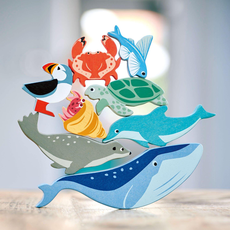 Set jucarii din lemn Raftul cu animale marine, 10 piese