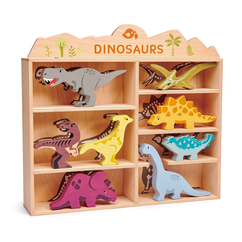 Set jucarii din lemn Raftul cu dinozauri, 8 piese