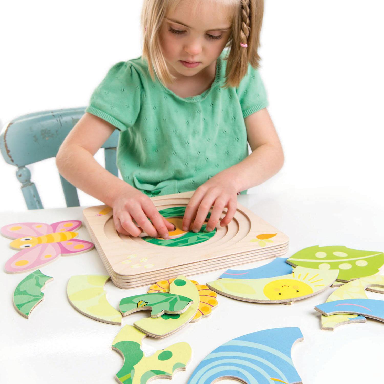 Set jucarii educative Fluturele, puzzle lemn 4 in 1