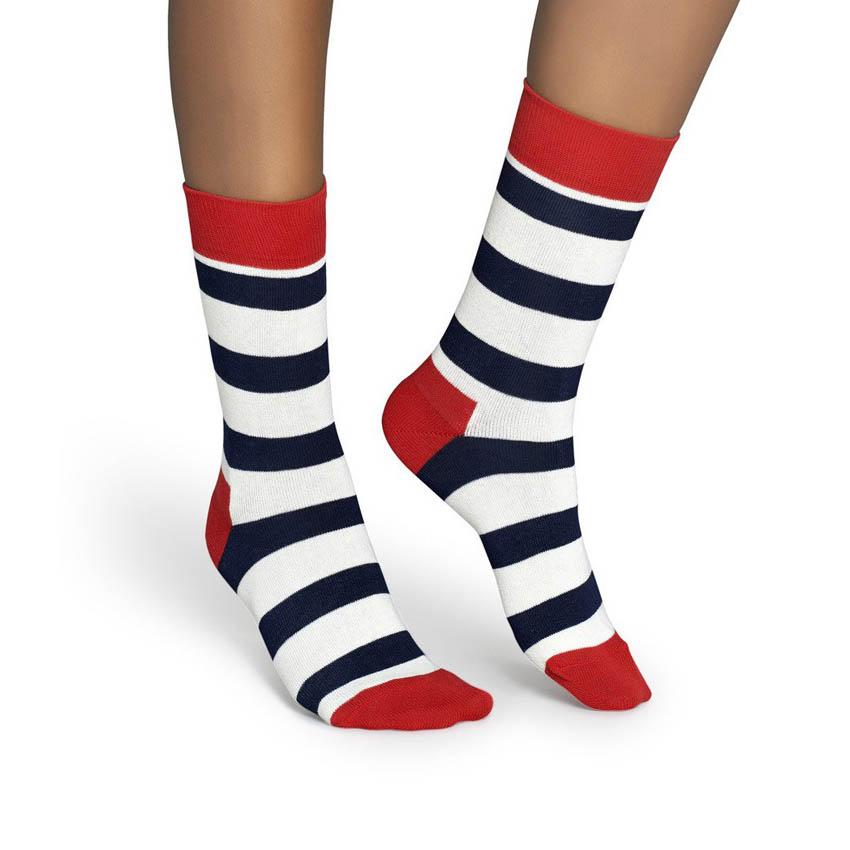Sosete Happy Socks rosii cu dungi