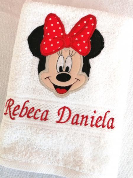 Prosop botez personalizat Minnie Mouse 140 x 70 cm [0]